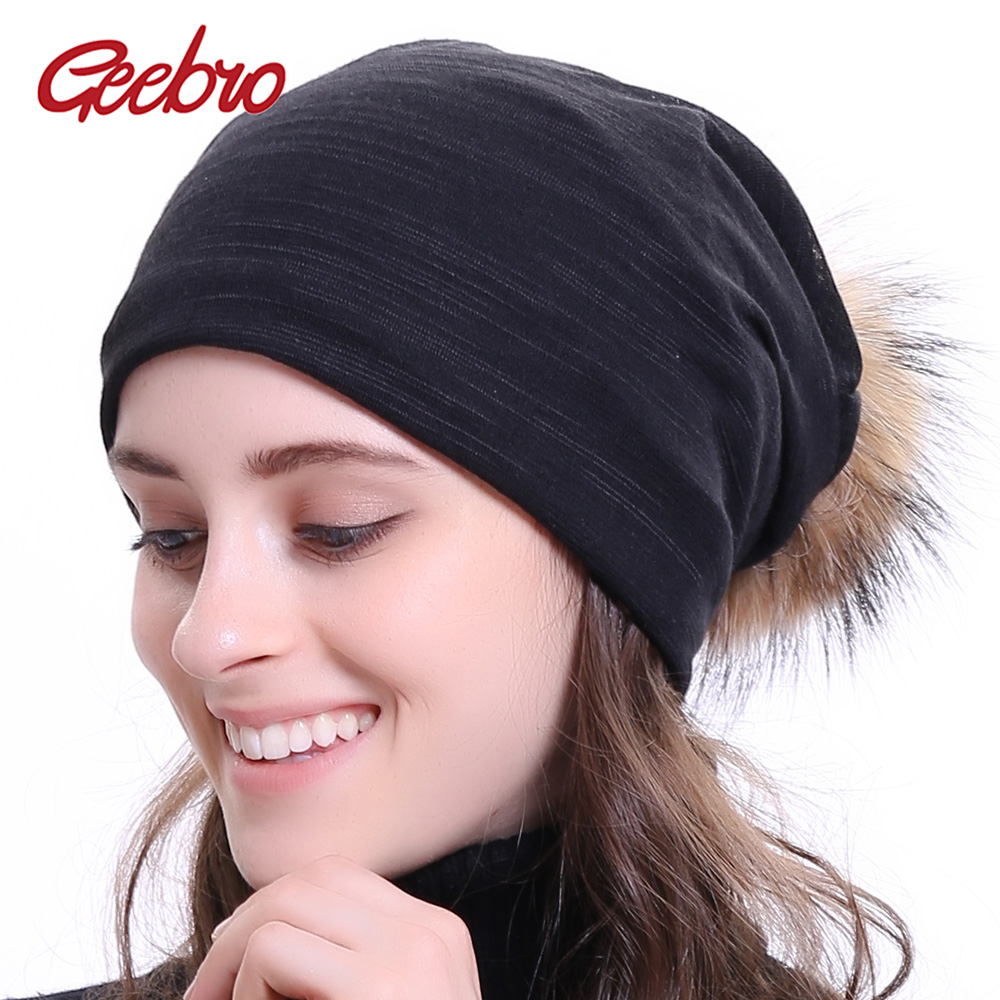 Geebro Women's Plain Color Ribbed   Beanie   Hat with Raccoon Pompom Winter Casual Knitted Hats For Female Women   Skullies     Beanie