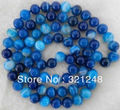 "Free shopping new 2014 diy 10mm Natural Blue Stripe Agate Onyx Jasper Round Beads Necklace 35"" GE4608"