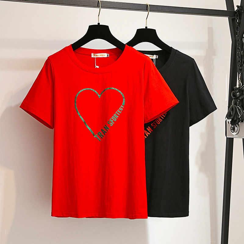 De moda más tamaño XXL-6XL camiseta de verano de las mujeres de manga corta cuello redondo Casual superior de algodón camiseta