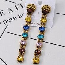 Free Shipping! Quality Elegant Vintage Long Tassels Big Crystal Square Gem Drop Earrings Women Fashion Dress Party Jewelry