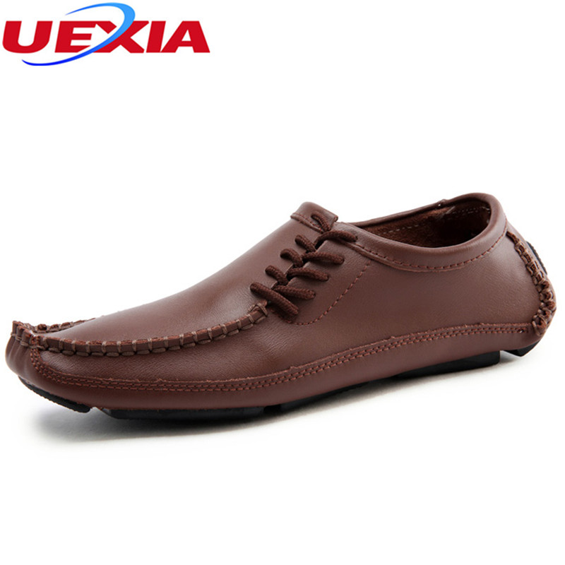 New Plus Size Soft Leather Flats Casual Men's Shoes Loafers Comfortable Soft Driving Men Shoes Dress Business Non-slip Moccasins split leather dot men casual shoes moccasins soft bottom brand designer footwear flats loafers comfortable driving shoes rmc 395