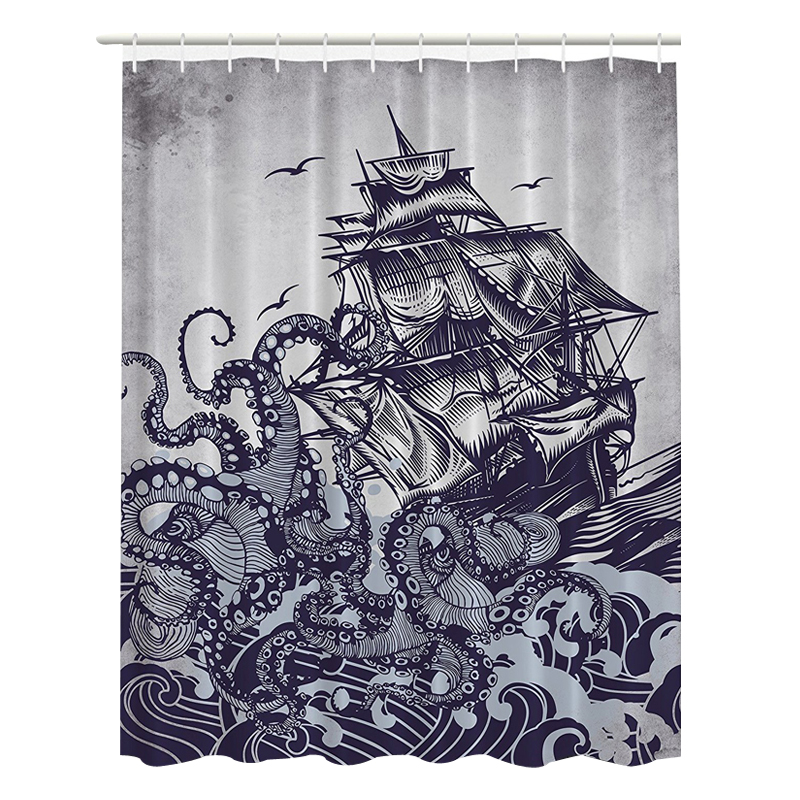 svetanya sailboat print shower curtains bath products bathroom decor with hooks