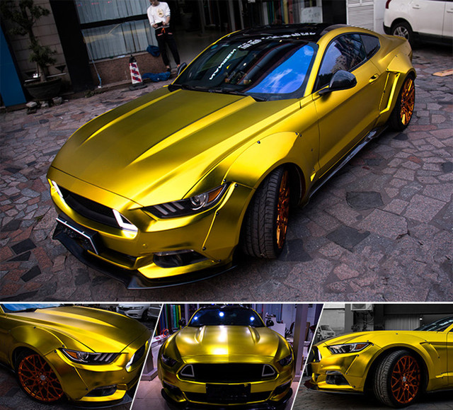 1.52x10m Polymeric New Satin Chrome Vinyl Car Wraps Sticker Gold Color Car Sticker With Air Bubble Car Styling