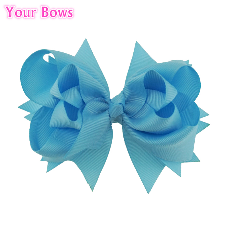 Your Bows 1PC 5 inches Kids Hair Bows 3 Layers Solid Blue Mist Bows Hair Clips Boutique Ribbon Bows For Girls Hair Accessories