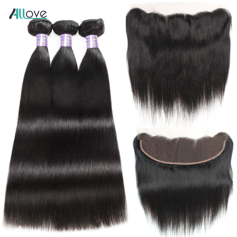 Allove Pre Plucked Lace Frontal Closure With Bundles Indian Straight Hair 3 Bundles NonRemy Human Hair
