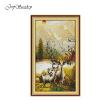 Happy Deer Family Joy Sunday Cross Stitch Kit DMC 11 14CT Printed Water Soluble Canvas DIY Needlework Embroidery Home Decor