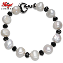 FEIGE Baroque style 10-11MM White Natural Freshwater Pearl Jewelry Bead Bracelet For Women Black Crystal Pulsera De Las Mujeres