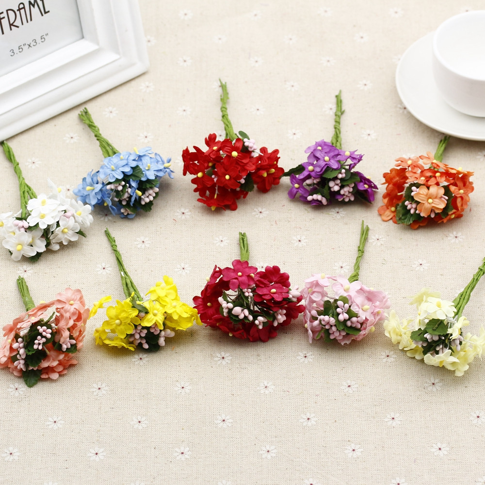6 Pcs Mini Fabric Flower Cherry Plum Flower Artificial Silk Flower