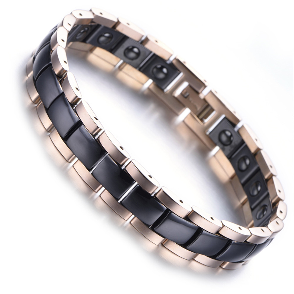 Mens Tungsten Bracelet, Rose Gold, White, 7.9 kb2007