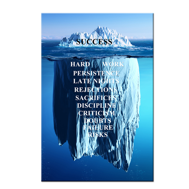 Success Quotes Inspirational Canvas Wall Art Iceberg Artwork