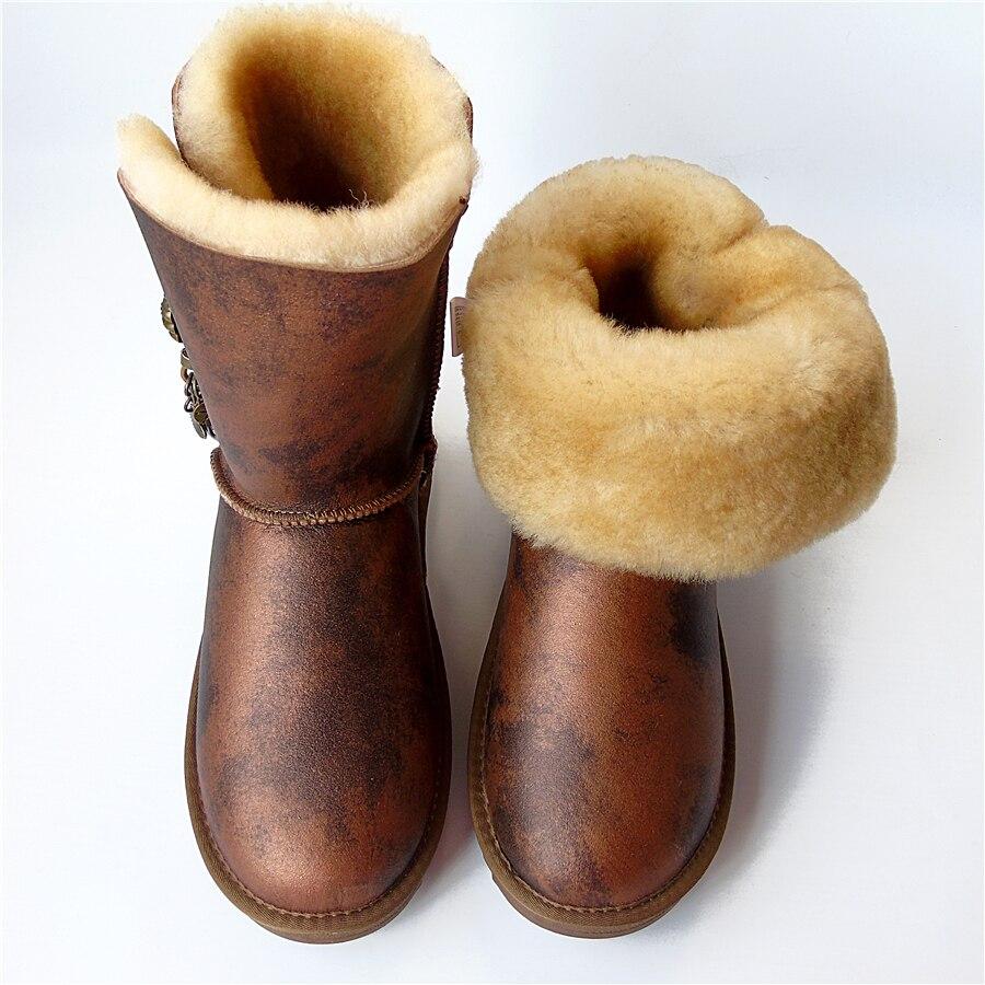 Ботинки из овечьей кожи с кисточками шерстяные зимние ботинки на плоской подошве из натуральной кожи непромокаемая Нескользящая зимняя женская обувь из овечьей кожи купить на AliExpress