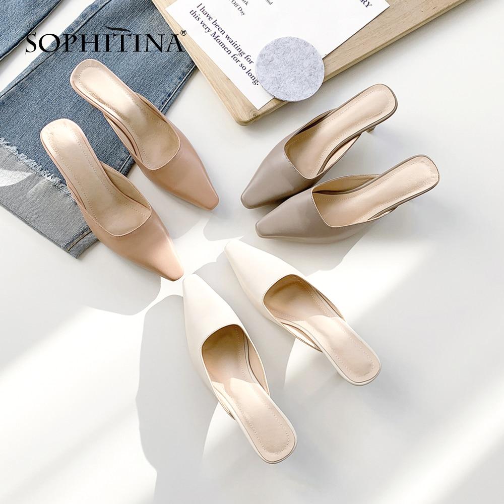 SOPHITINA zapatillas de piel de oveja de alta calidad cómodos zapatos bajos de tacón alto cuadrado Venta caliente zapatillas de mujer de tamaño grande MO20-in Zapatillas from zapatos    3