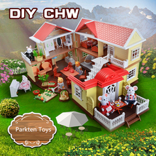 JMU family DIY hous toys with light furniture and doll big color box package