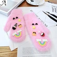 2016 Hot Sales Women Autumn Winter Harajuku Rabbit hair Pink with blue Dimensional Kawaii little balls Warm gloves T161159