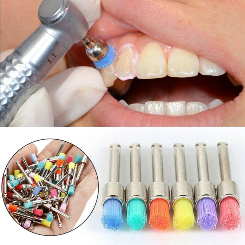 100Pcs Dental Lab Polisher Tool Nylon Latch Small Flat Polishing Prophylaxis Brush Teeth Whitening Tool