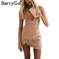 BerryGo Deep V Neck Suede Short Dress Backless Zipper Asymmetric Mini Sexy Dress Women 2017 Winter