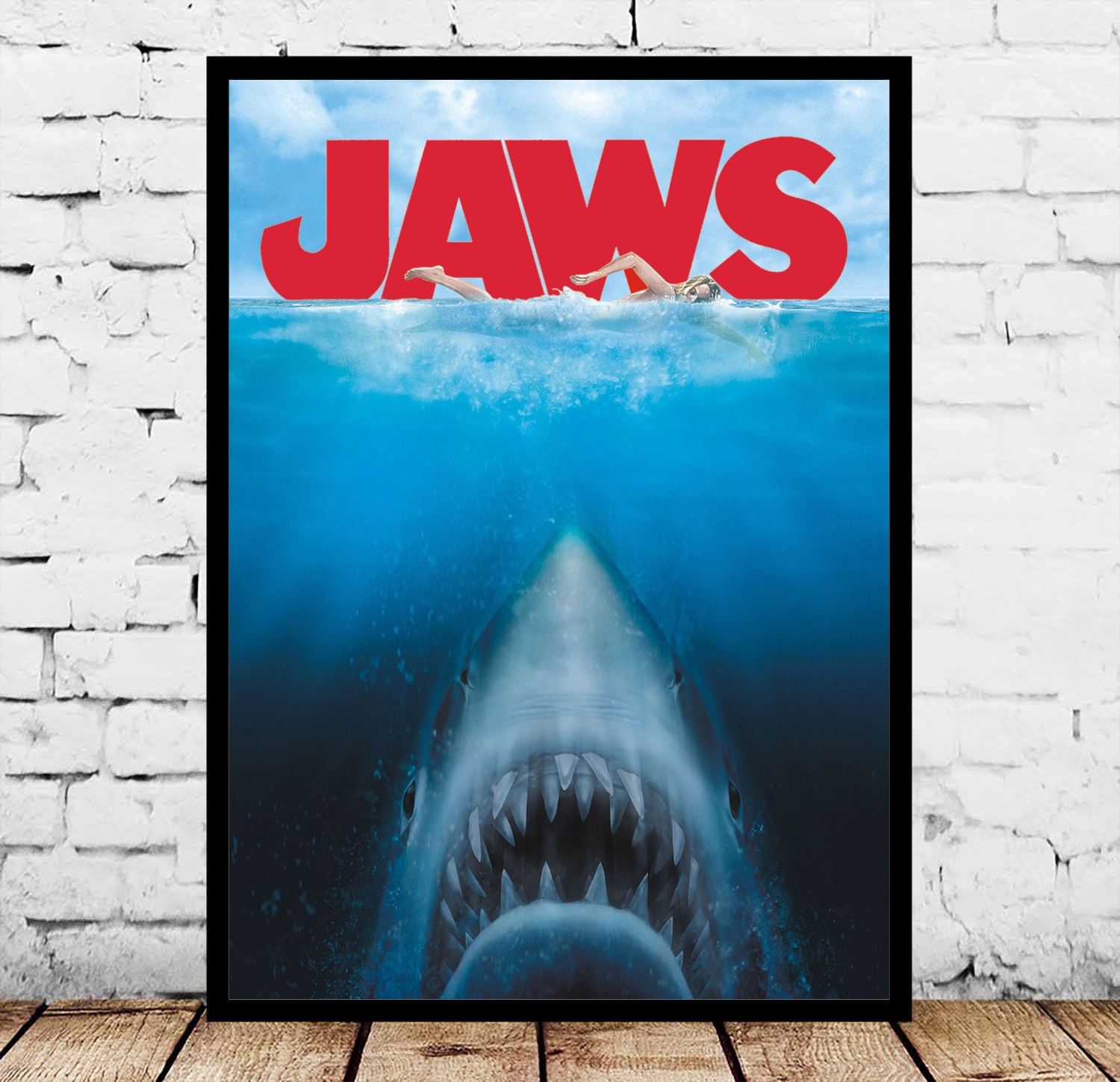 Steven Spielberg's Jaws The Great White Shark Movie Posters Silk Art Painting Wall Art No Frame image