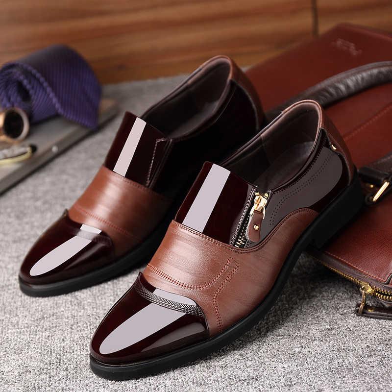 ผู้ชายรองเท้ารองเท้าผู้ชาย Oxford รองเท้า ZIP ธุรกิจอย่างเป็นทางการผู้ชายรองเท้าหนังรองเท้าแต่งงาน