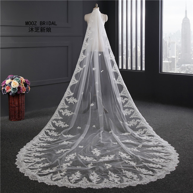 In Stock Bridal Veils 3.5 Meters Long 1.8M Width Wedding Veil White/Ivory Lace Edge With Comb Wedding Accessories voile 2018
