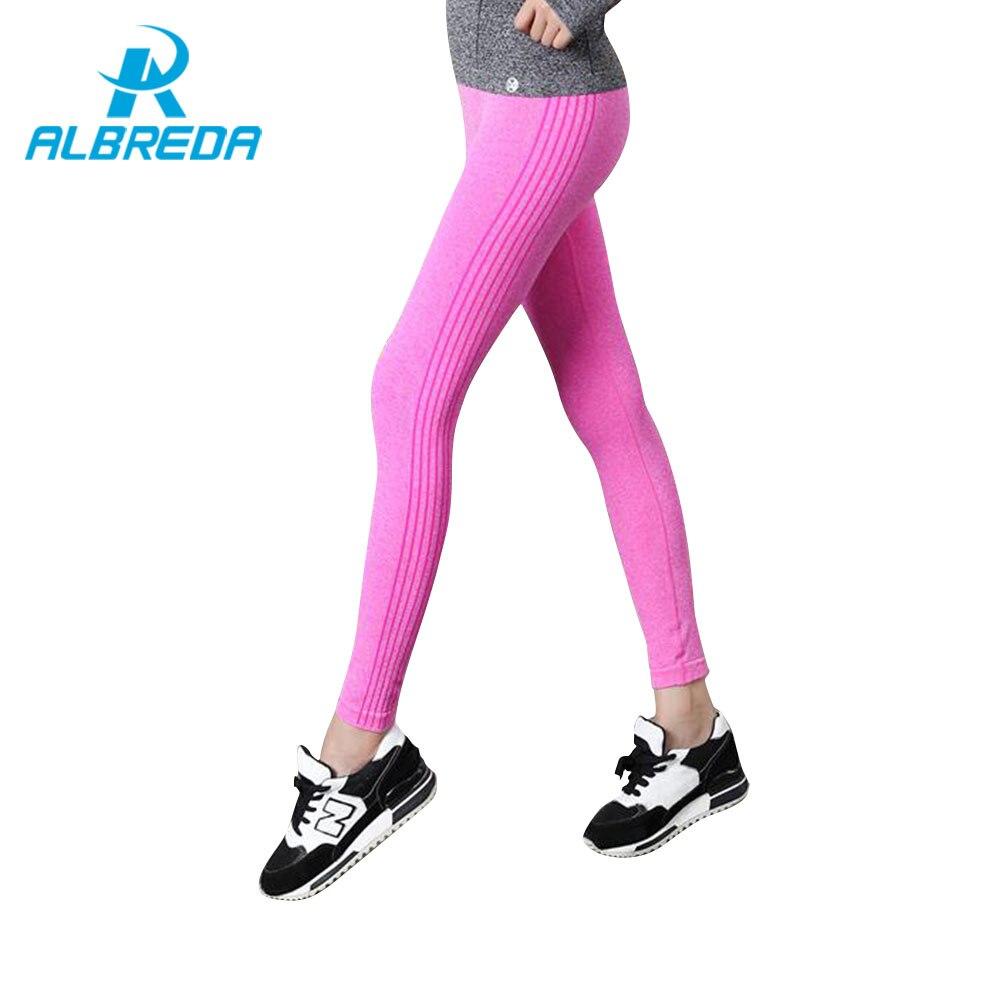 ALBREDA Women Elastic High Waist Yoga Pants Fitness Bodybuilding Lady Yoga Sport Leggings Running Trousers Quick dry Tights pant women s high waist mesh fitness pants yoga trousers leggings