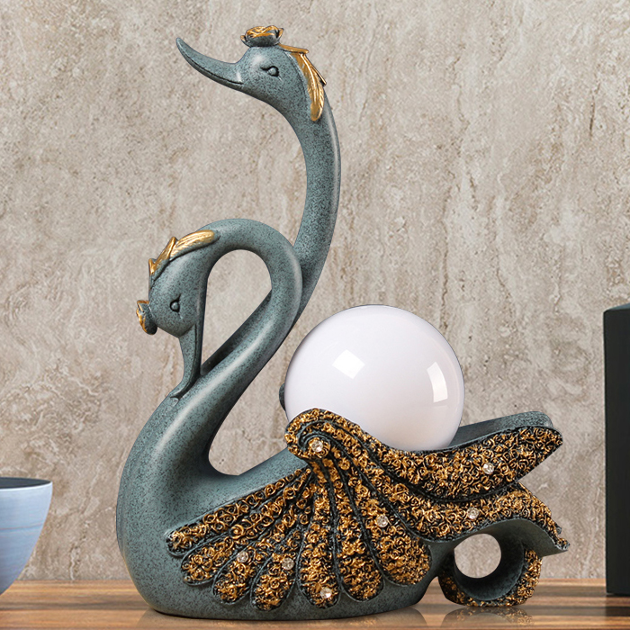 Creative Blue White Gold Swan Wedding Gift Ornaments Living Room Bedroom Bedside Lamp Decorations Home Table LampCreative Blue White Gold Swan Wedding Gift Ornaments Living Room Bedroom Bedside Lamp Decorations Home Table Lamp