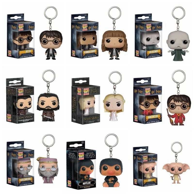 Funko Pop Game of Thrones Jon Snow Harri Potter KeyChain Accessories figures Fantastic Beasts Niffler model toy gifts Collection