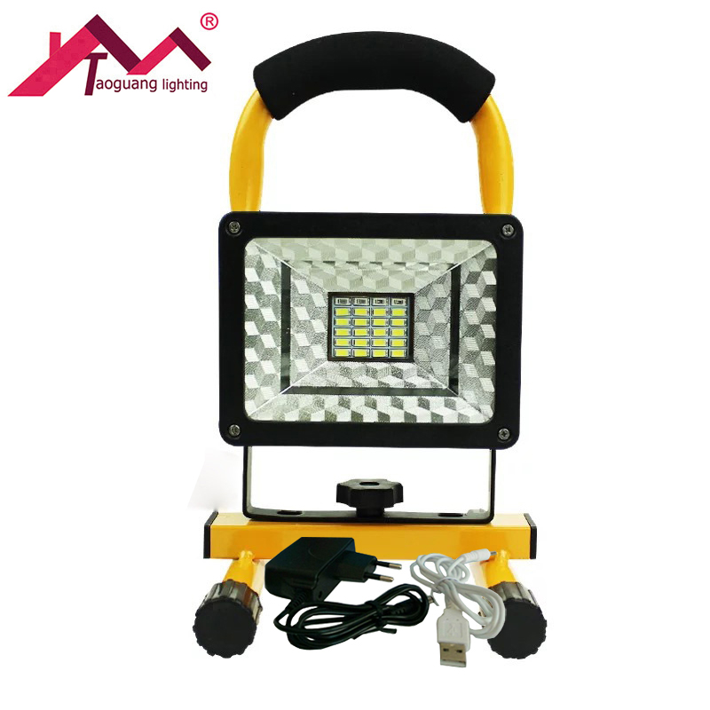 Portable Led Flashlight LED Flood Light Waterproof Outdoor Rechargeable Light Power and USB Charge Data Cable 15W LED Floodlight ...