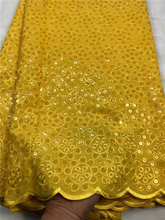 BEAUTIFICAL Swiss sequins lace embroidery swiss voile yellow Cheap price on sale 5yards/lot ML45R01