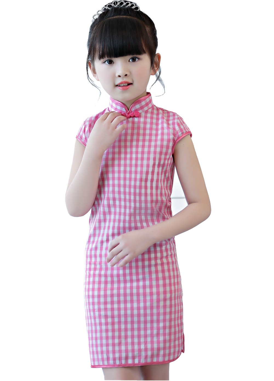 Shanghai Story 2019 Baby Girls Chinese Style Dress Lattice Cheongsam For Girls Kids Performance Costume Plaid Qipao Dress