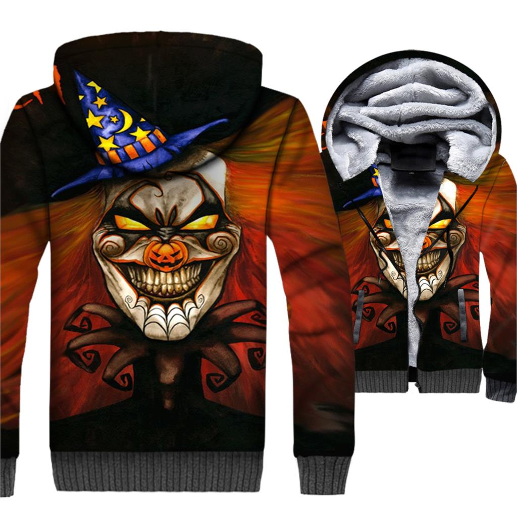 Halloween Clown Jackets Men Happy Hallowmas Hoodie Spoof Funny Hooded Sweatshirt Winter Thick Fleece Warm 3D Coat Brand Clothing