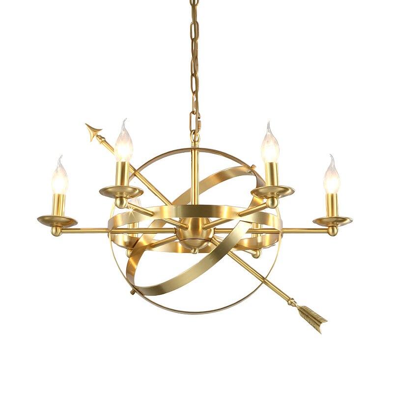 Американский стиль креативный настоящий светодио дный латунный светодиодный подвесной светильник Современный Фойе Спальня золотой роско