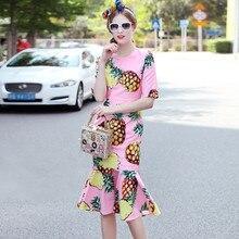 Customize Women Fashion Pink Pineapple Printing Bodycon Dress Ladies Plus Size 3XS-10XL Trumpet/Mermaid Fishatail Midi Dresses