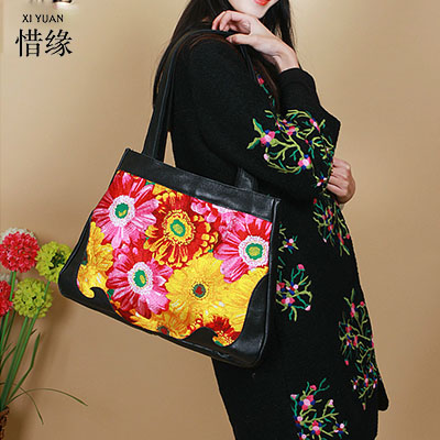 все цены на XIYUAN BRAND 2017 NEW Original Design of Ethnic women COW Genuine Leather embroidery female big shoulder bag lady hand bags