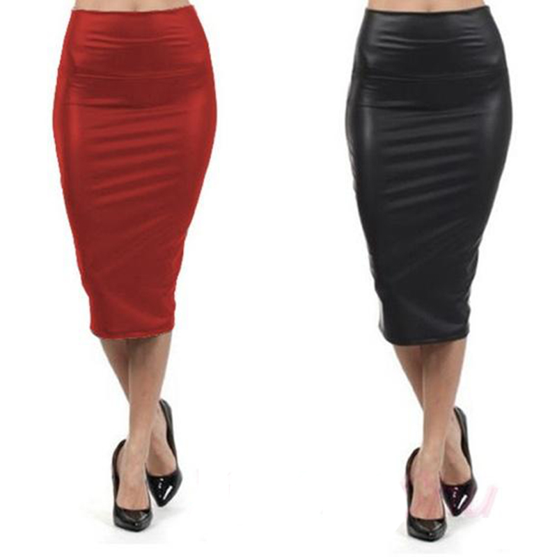 PU Leather Skirts Sexy Women BandageHigh Waist Pencil Skirts Office Lady Faux Leather Harajuku Long Skirt Plus Size Midi Autumn