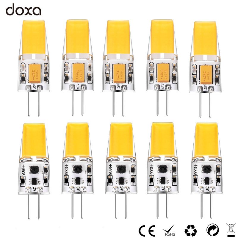 10 adet G4 COB LED Lamba 12 V AC DC 3 W LED G4 Ampul Lampadas Lampara Lamba Luz 360 Işın Açısı Değiştirin 30 W Halojen Lamba ev için
