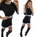 2016 mulheres sensuais vestidos three quarter sleeve self portrait letras casual dress o-pescoço curto de algodão fino trabalho black dress