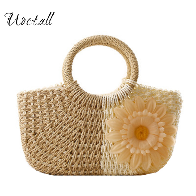Uoct.all Womens Handbags Ladies Hand Straw Weave Bags Girl Pink Zipper Totes Beach Bag Summer Bohemian Grass Bag