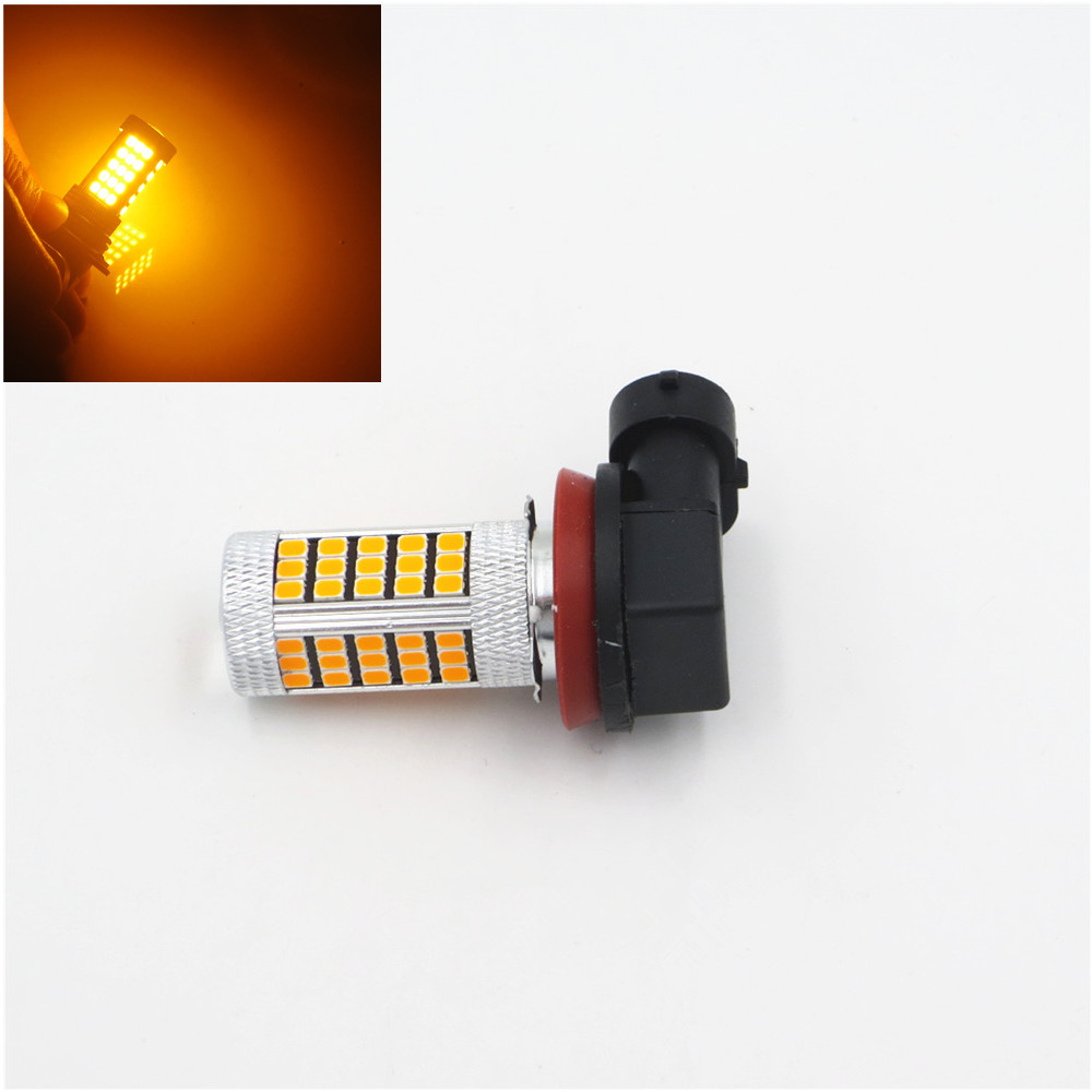 H11 H8 2835 63 SMD LED Car Auto Projector Fog Driving Light Bulb Amber Yellow Car Light Source 12V