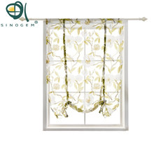 Tie Up Rod Pocket Kitchen Tree Birds Floral Print Sheer Curtains for 1 Tulle Balcony Curtain Panel Sinogem Brand
