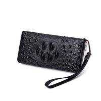 New Fashion Young Men Wallet Large Capacity Long Wallet Clutch Bag Genuine Leather Mobile Phone Handy