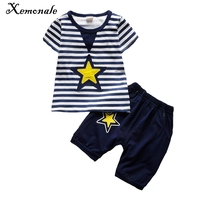 Xemonale Toddler Boys Clothing Summer 2017 New Children Baby Boys Clothes Stripe Kids Boy Clothing Sets