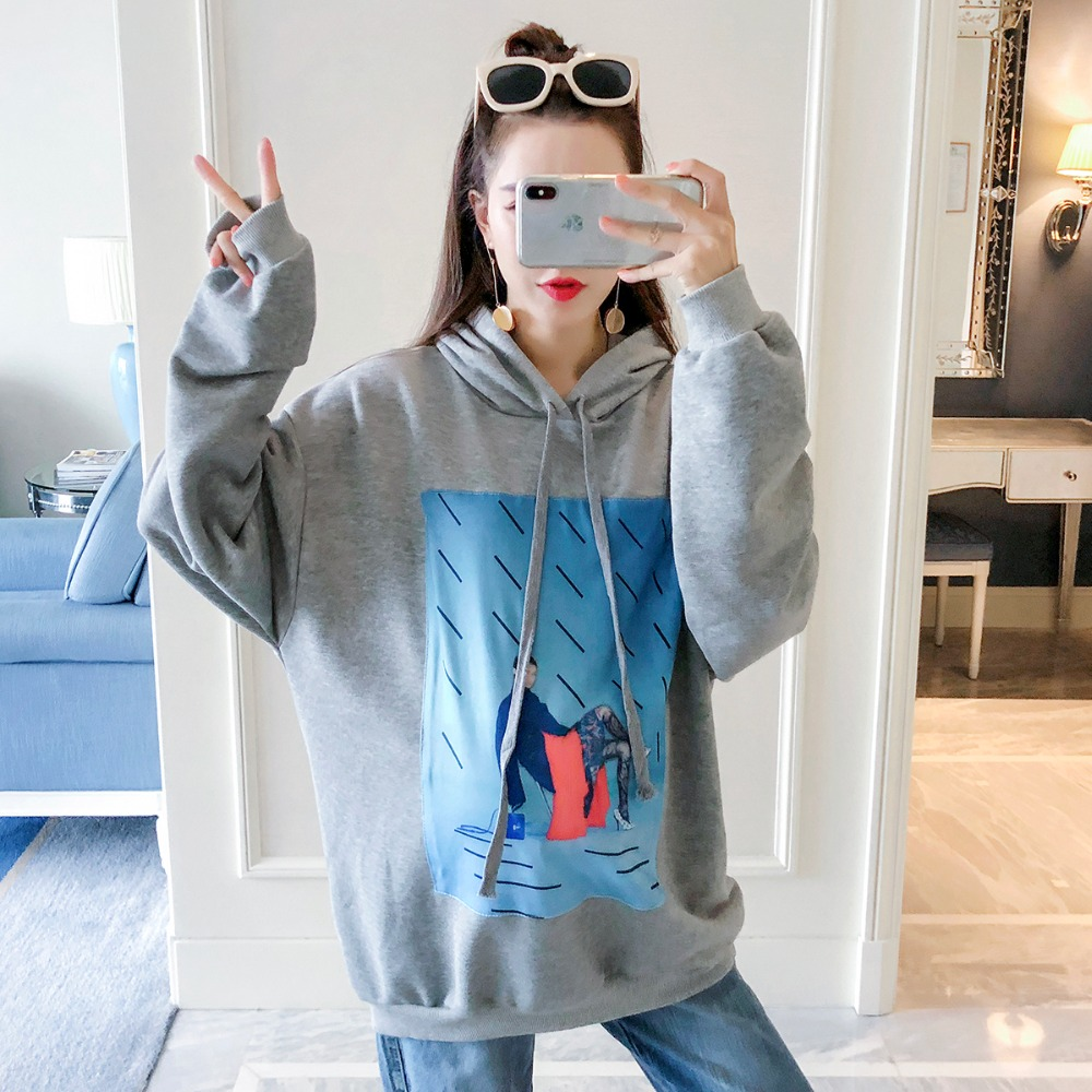 цена на Pregnant women sweater autumn 2018 new fashion print long-sleeved shirt Korean version of maternity wear loose casual hoodie