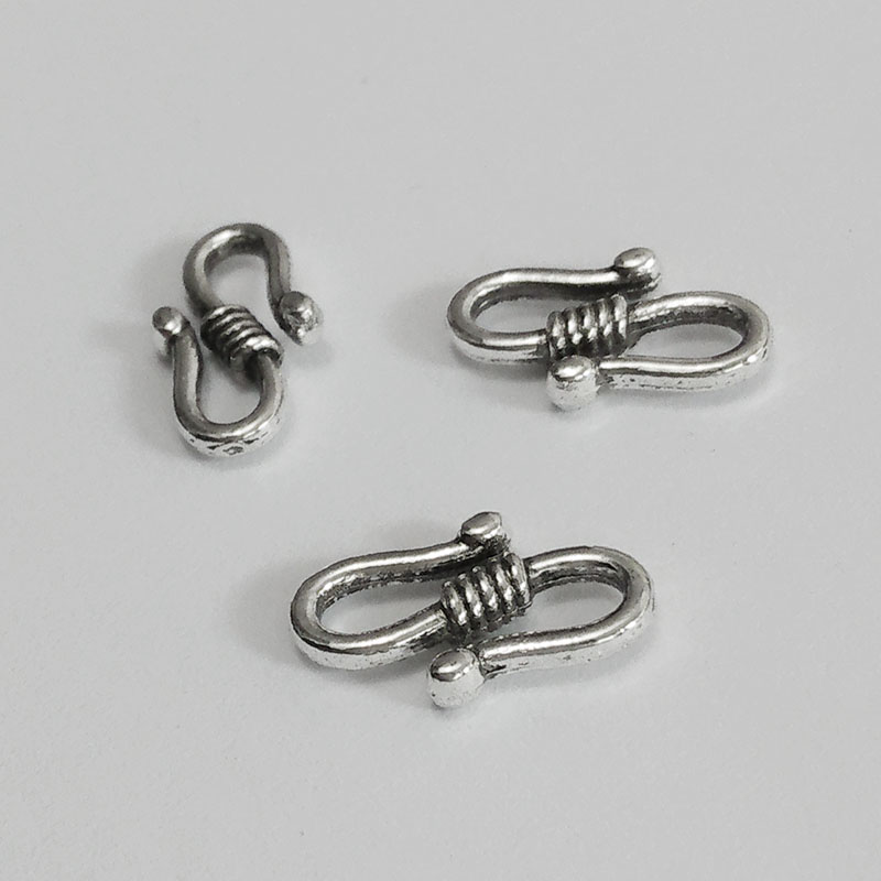 50pcs Antique Silver Small S-Hook Clasps Jewelry 23x9mm Charming Beads