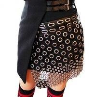 Sexy Unique Punk Rock Irregular mini skirt Women Metal Ring Cutout Leather Strap Spliced Short Skirt
