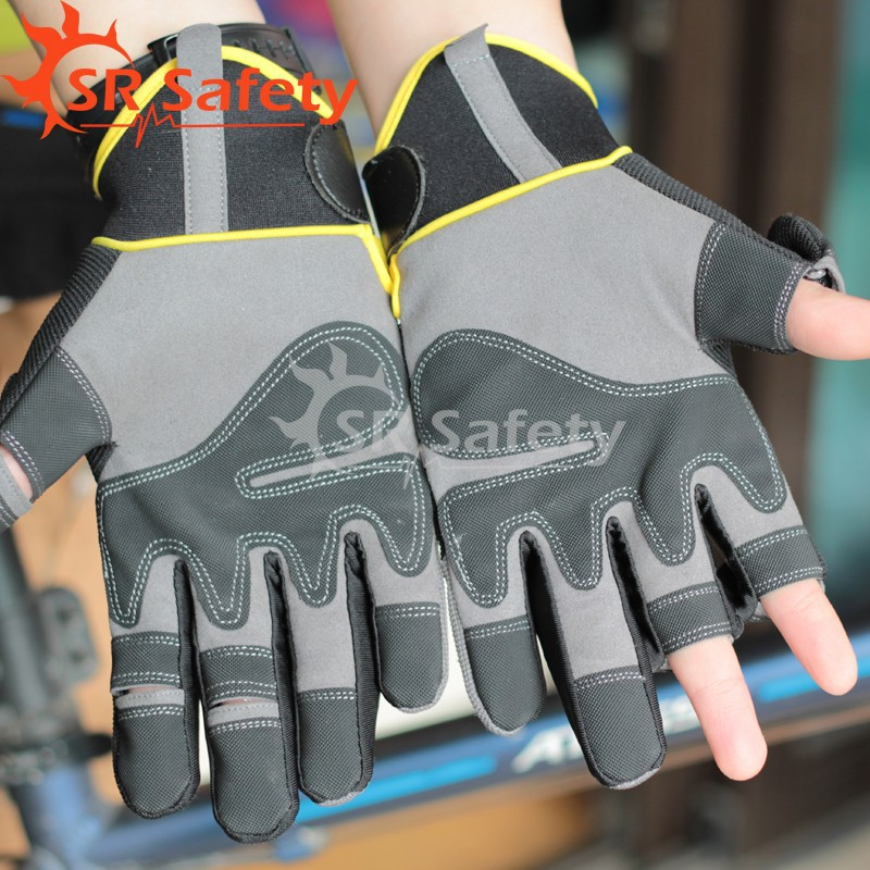 Srsafety 1 Pairs New High Quality fish glove Sports Half Finger Glove Free Shipping