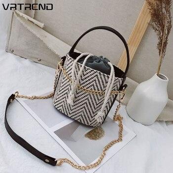 VRTREND Women Straw Shoulder Bag Vintage Rattan Handbag Shoulder Mini Messenger Beach Casual Wicker Bag Summer Tote bolsas