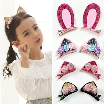 2pcs/Set Cute Hair Clips For Girls Glitter Rainbow Felt Fabric Flowers Hairpins Cat Ears Bunny Barrettes Kids Hair Accessories image
