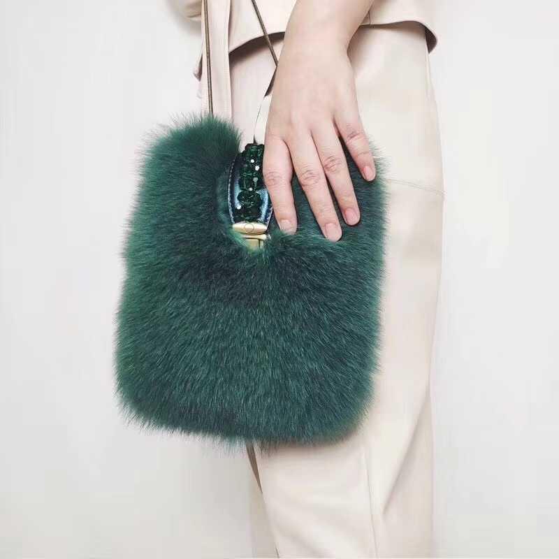 חדש 2018 אמיתי שועל פרווה תיק 100% אמיתי פרווה שקיות ירוק צבע ארוך שרשרות נשים אופנה פרווה תיק יוקרה פרווה