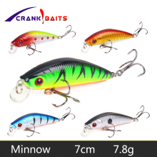Купить с кэшбэком CRANK BAITS 7cm 7.8g Fishing Lure Minnow Crankbait Hard Bait Tight Wobbler Jerkbait 10 colors Floating Fish Swimbait Pesca YB9