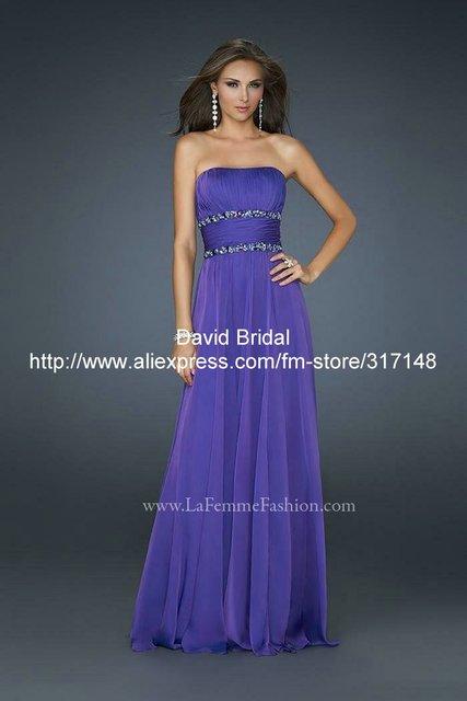 Da156 Beaded Strapless A Line Unique Long Chiffon Purple Prom